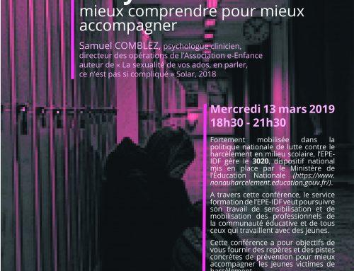 Conférence/débat : harcèlement et cyber harcèlement – mieux comprendre pour mieux accompagner